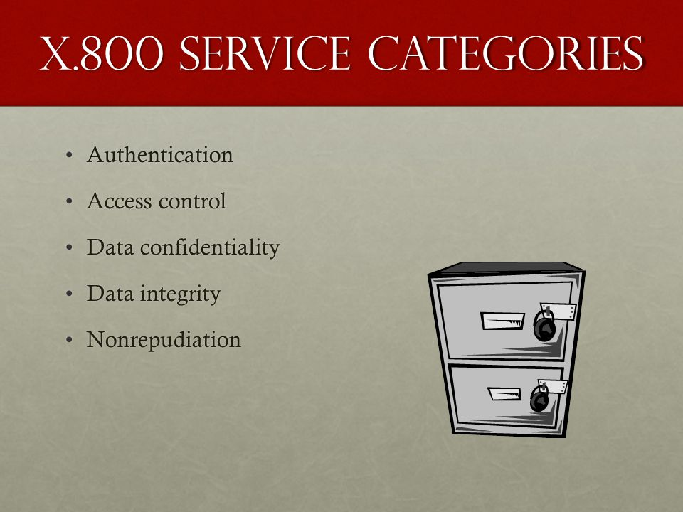 X.800 Service Categories Authentication Access control