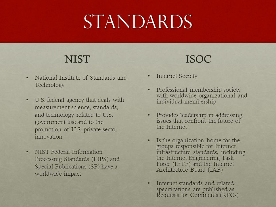 standards NIST ISOC National Institute of Standards and Technology