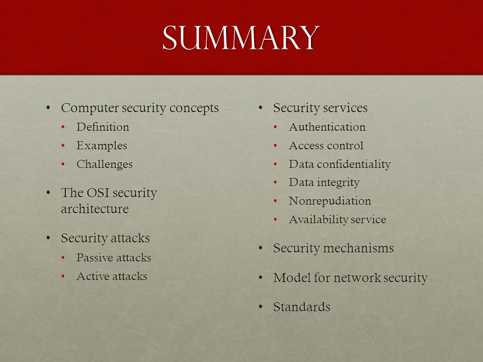 Summary Computer security concepts The OSI security architecture