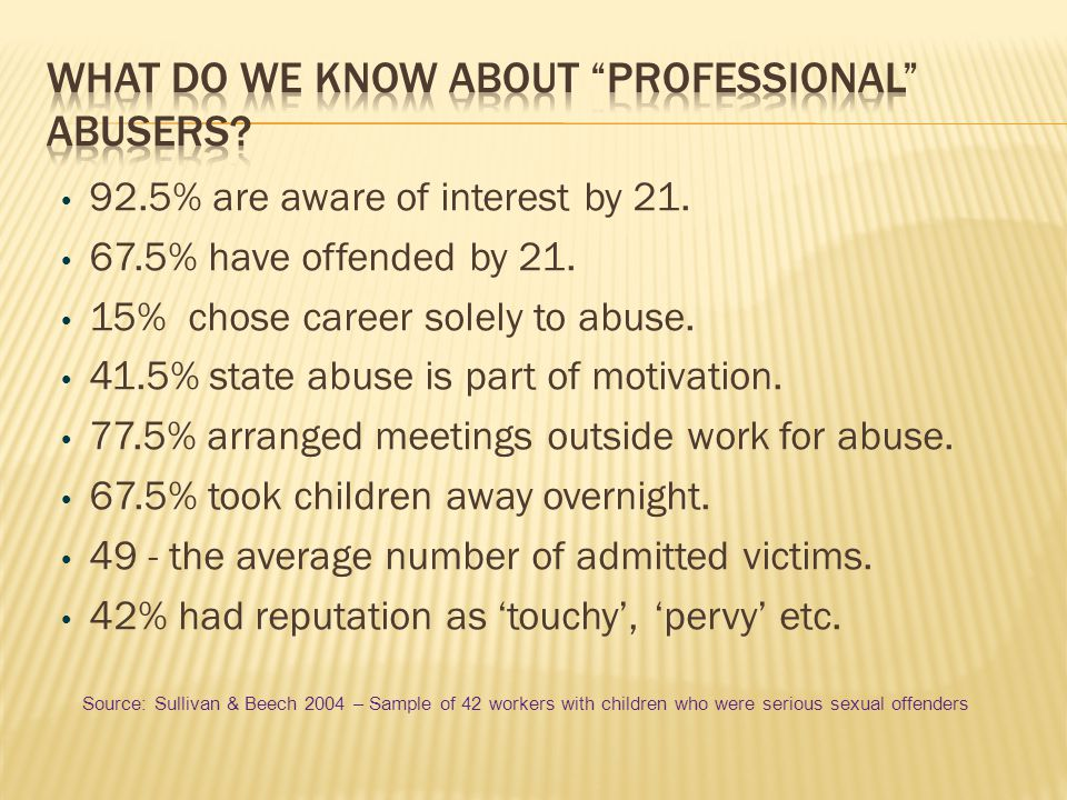 What do we know about professional abusers
