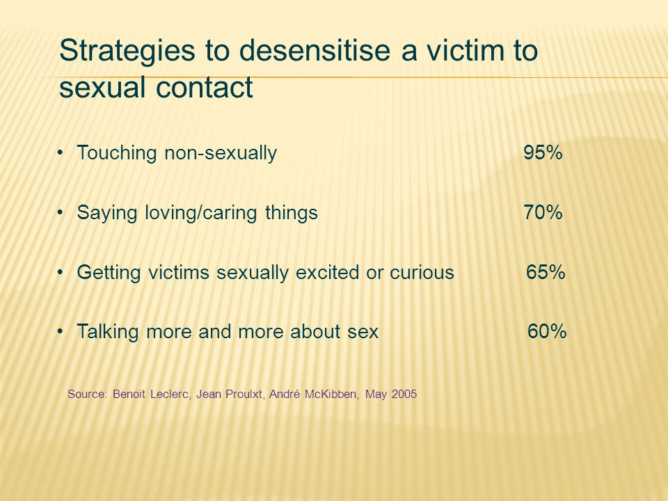 Strategies to desensitise a victim to sexual contact