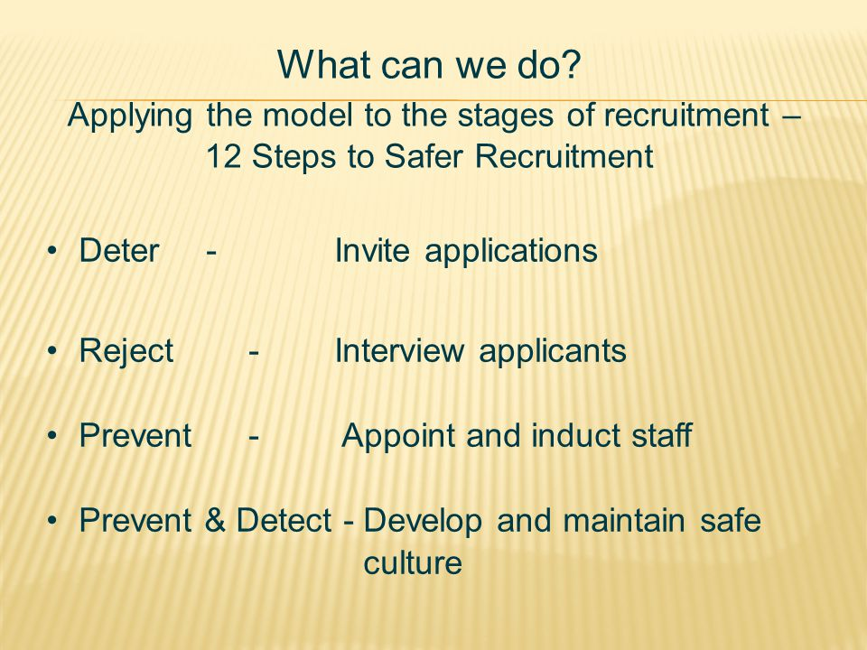 What can we do Applying the model to the stages of recruitment – 12 Steps to Safer Recruitment