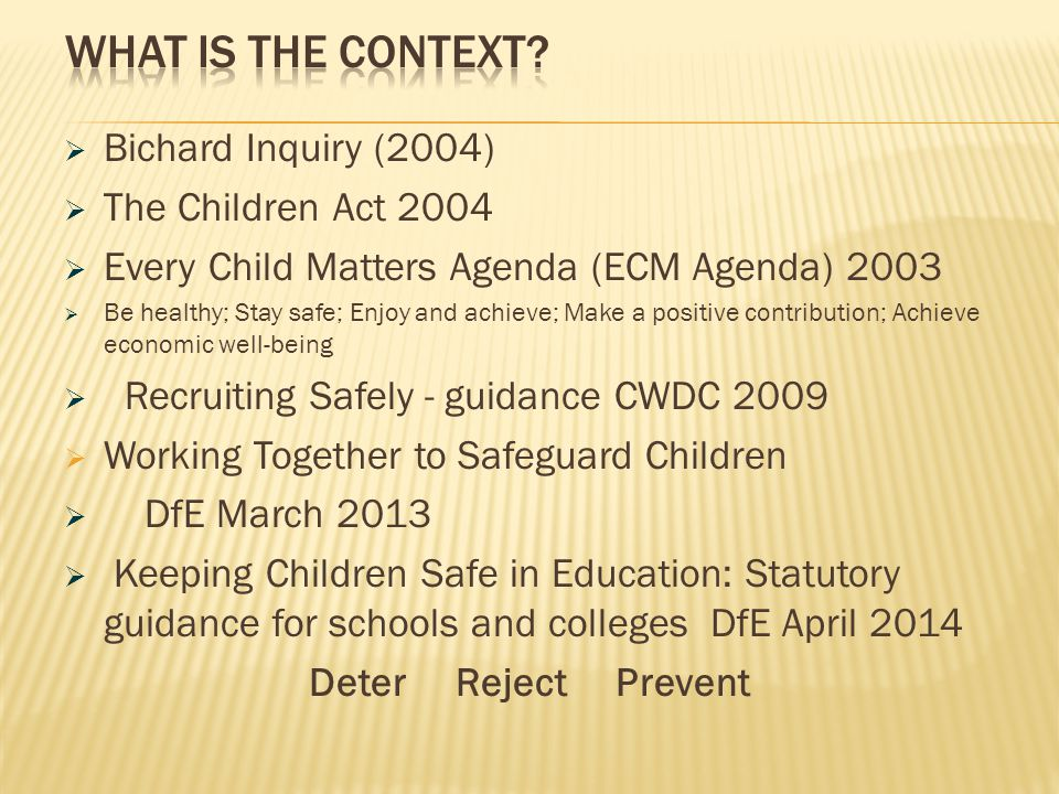 What is the context Bichard Inquiry (2004) The Children Act 2004