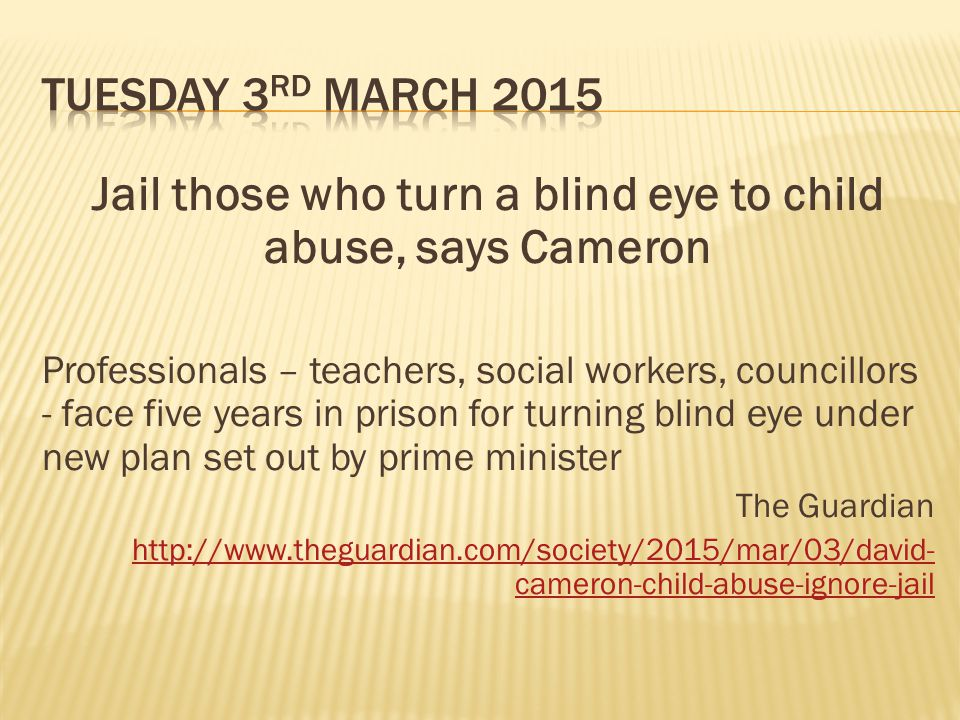 Jail those who turn a blind eye to child abuse, says Cameron