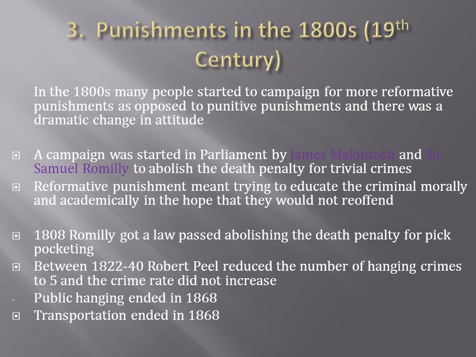 3. Punishments in the 1800s (19th Century)