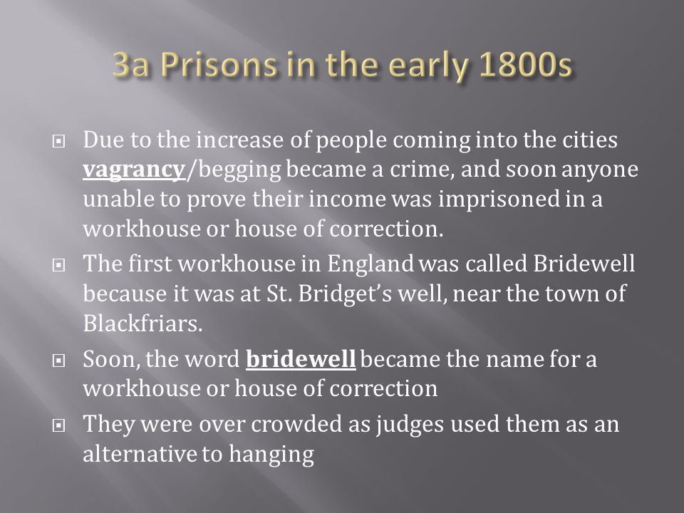 3a Prisons in the early 1800s