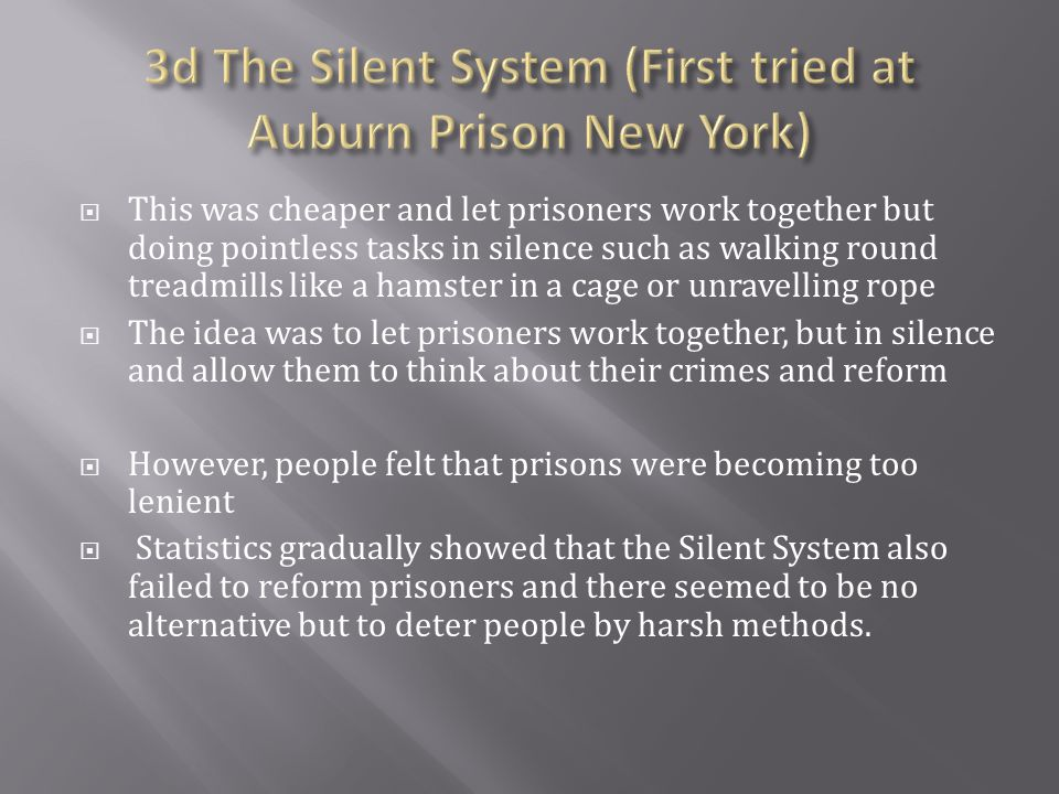 3d The Silent System (First tried at Auburn Prison New York)