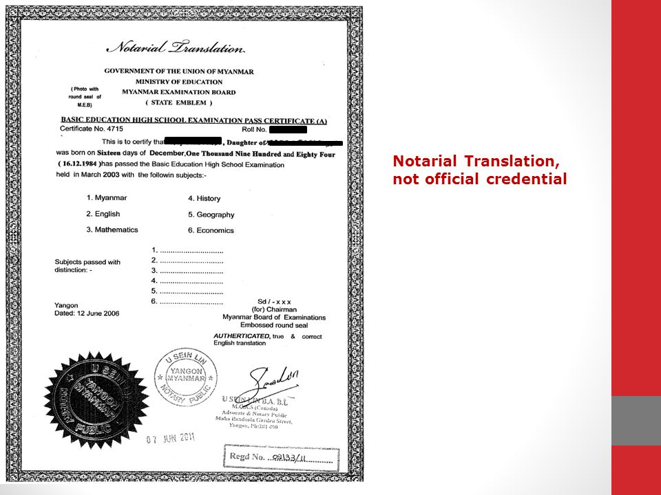 Notarial Translation, not official credential