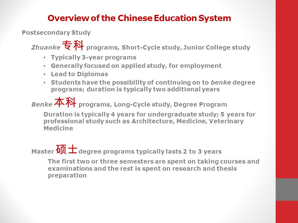 Overview of the Chinese Education System