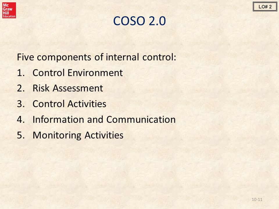 COSO 2.0 Five components of internal control: Control Environment