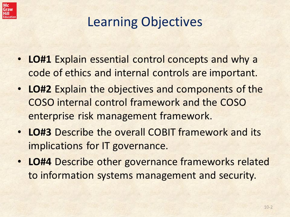 Learning Objectives LO#1 Explain essential control concepts and why a code of ethics and internal controls are important.