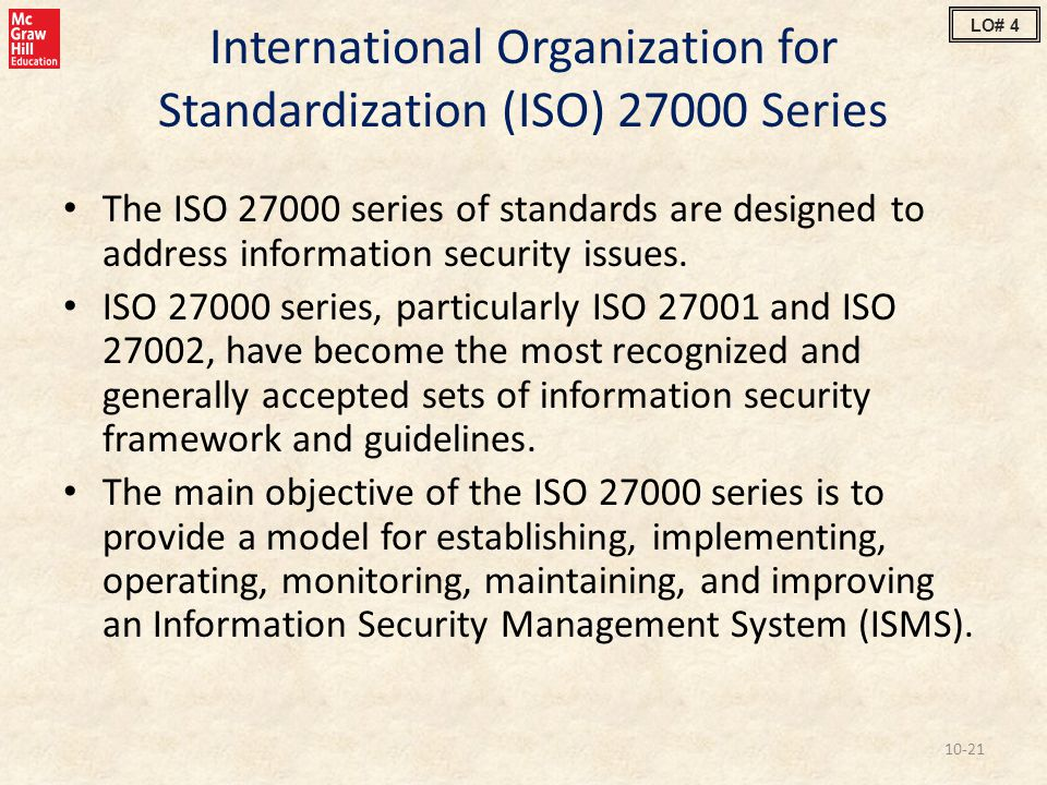 International Organization for Standardization (ISO) 27000 Series