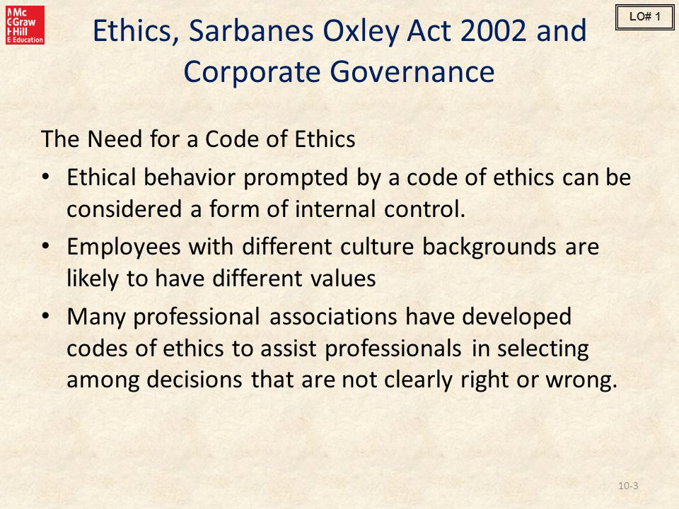 Ethics, Sarbanes Oxley Act 2002 and Corporate Governance