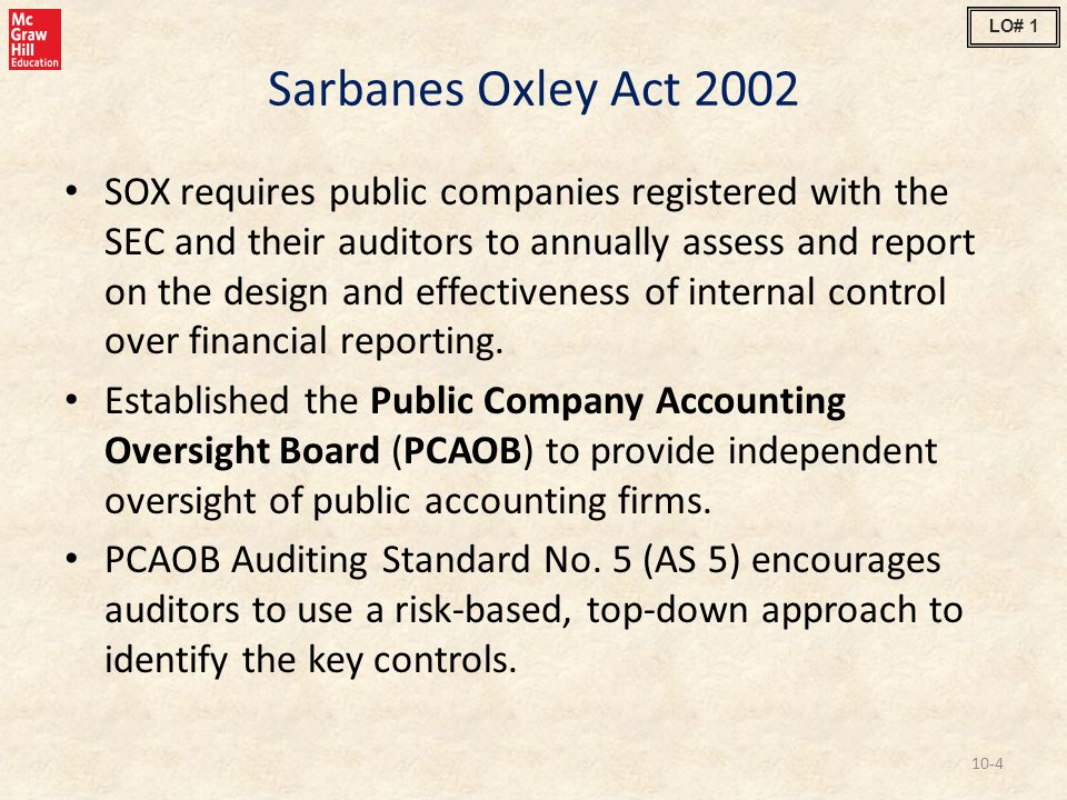 LO# 1 Sarbanes Oxley Act 2002.