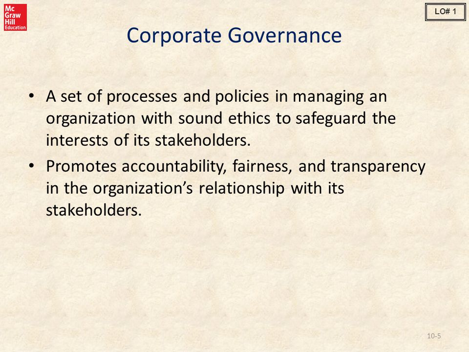 LO# 1 Corporate Governance.