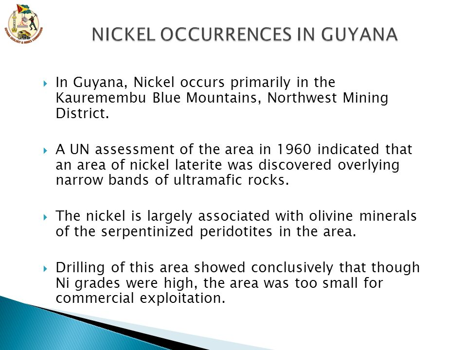 NICKEL OCCURRENCES IN GUYANA