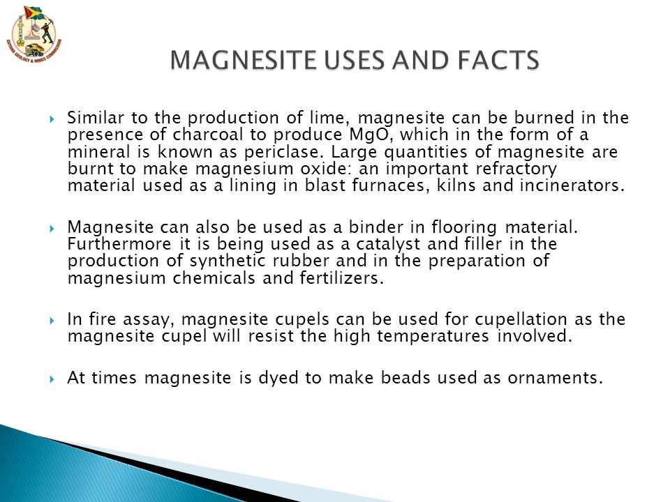MAGNESITE USES AND FACTS