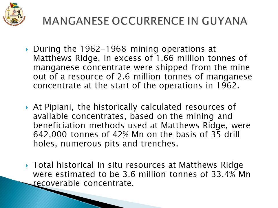 MANGANESE OCCURRENCE IN GUYANA