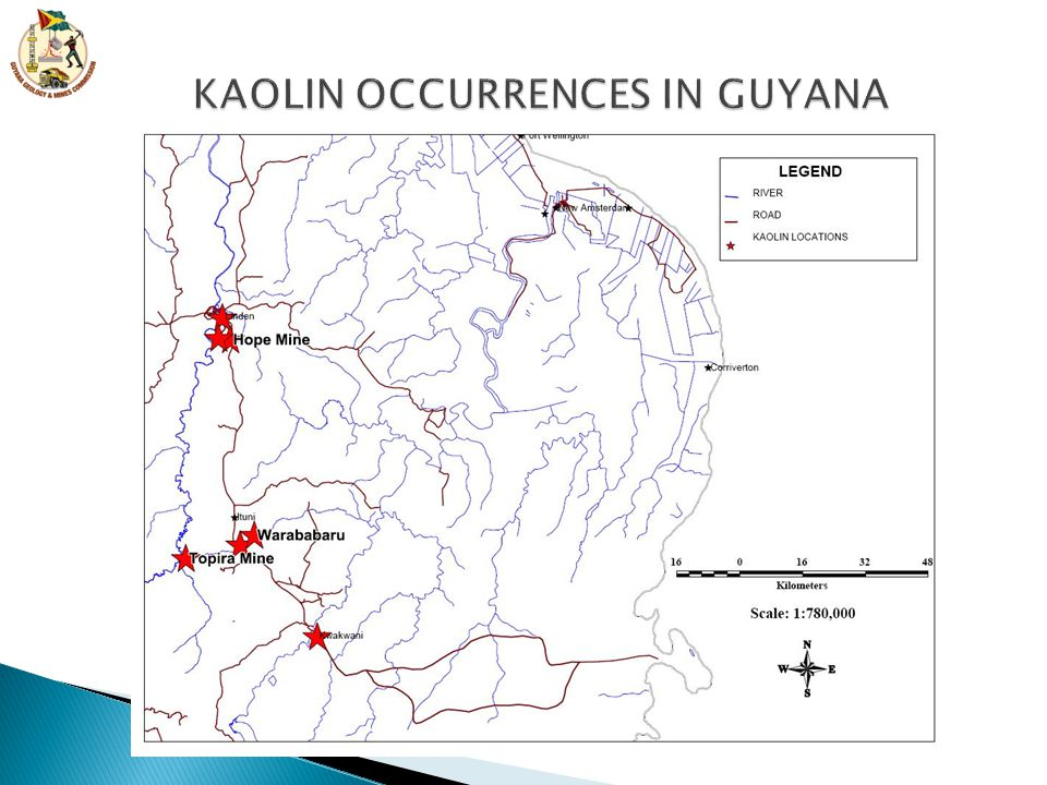 KAOLIN OCCURRENCES IN GUYANA