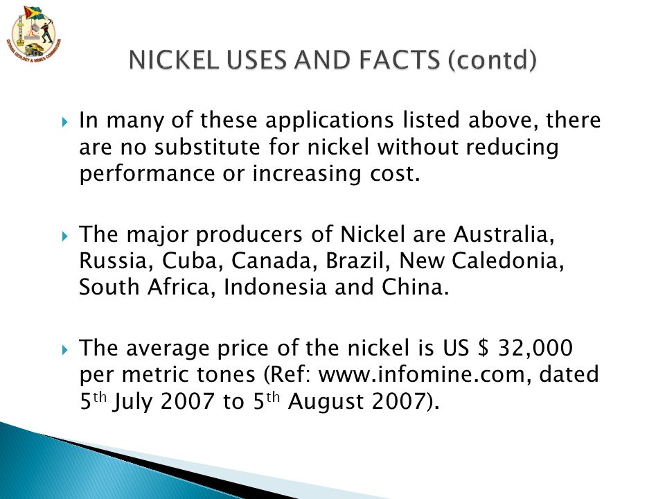 NICKEL USES AND FACTS (contd)
