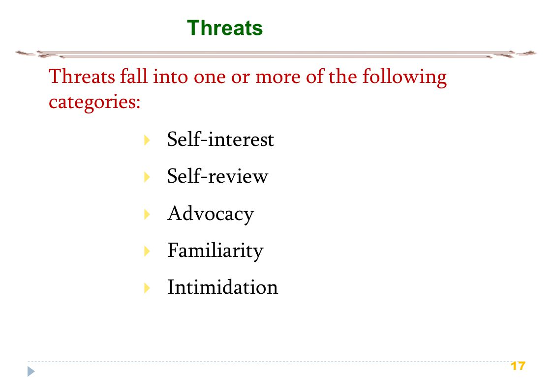 Threats fall into one or more of the following categories: