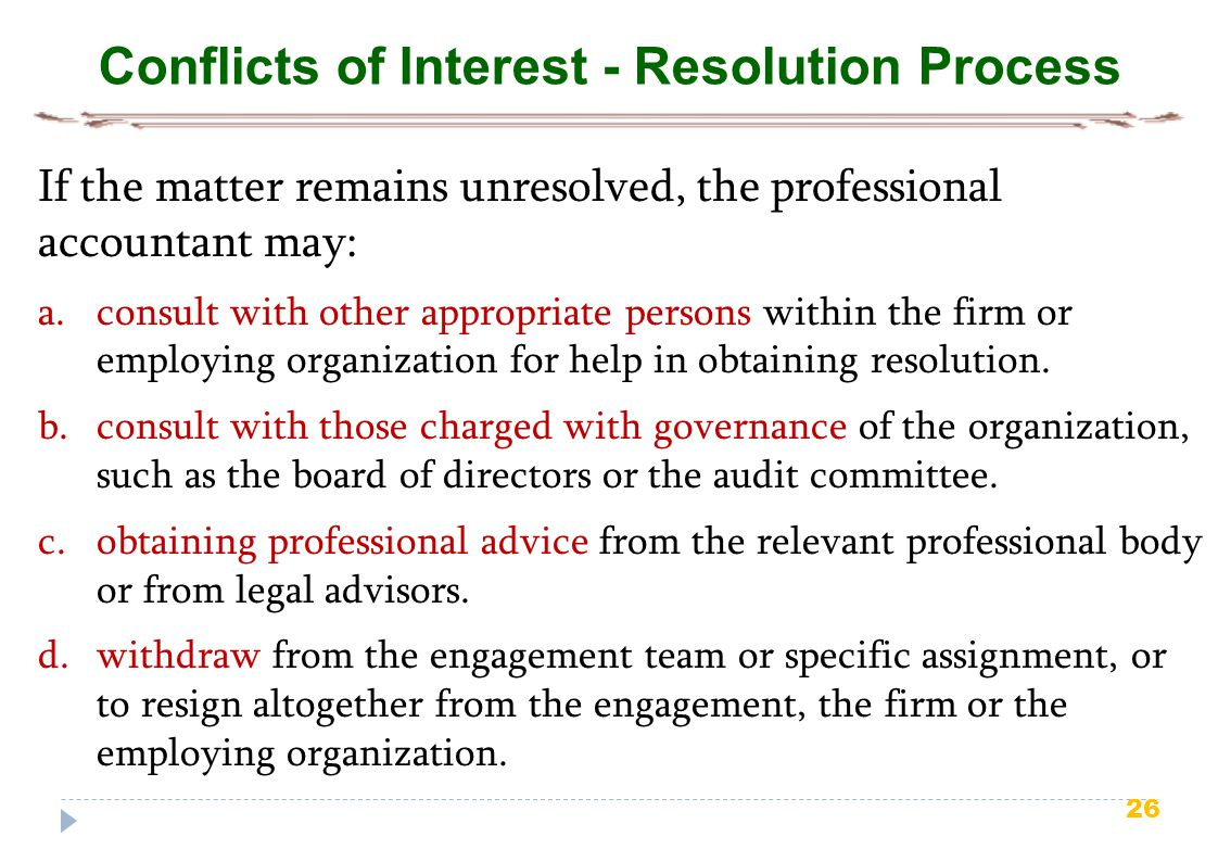 Conflicts of Interest - Resolution Process
