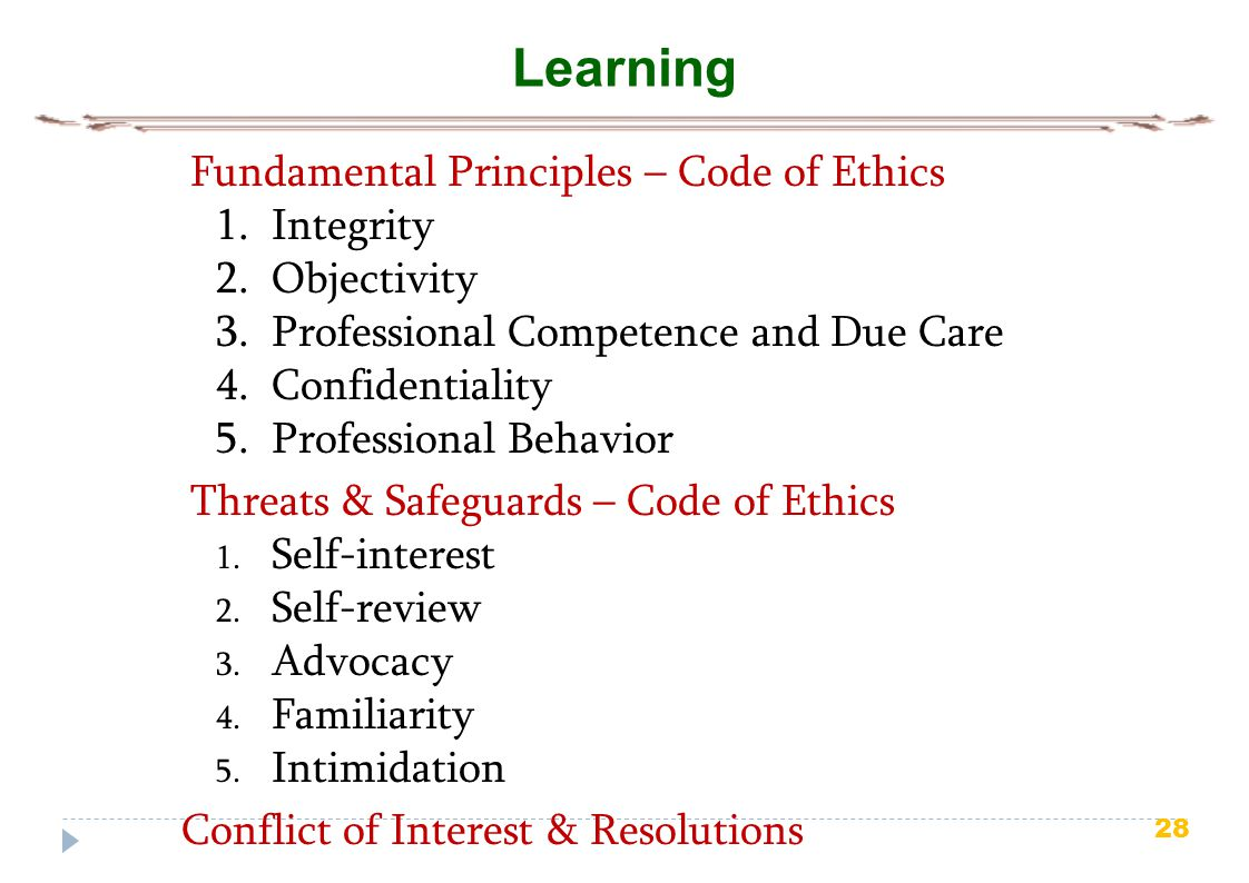 Learning Fundamental Principles – Code of Ethics Integrity Objectivity