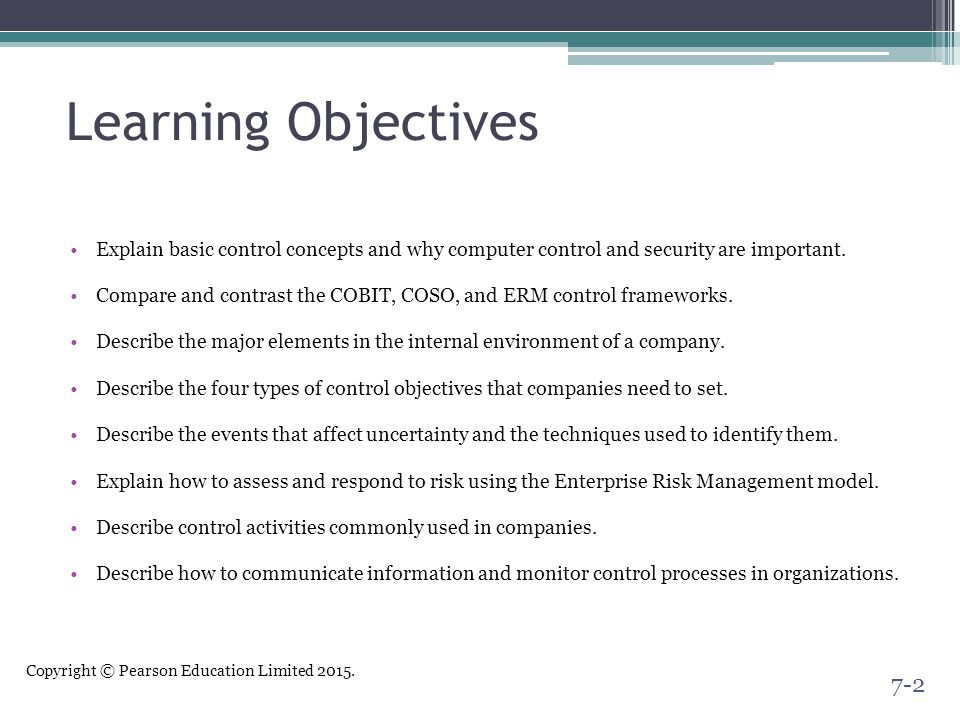 Learning Objectives Explain basic control concepts and why computer control and security are important.