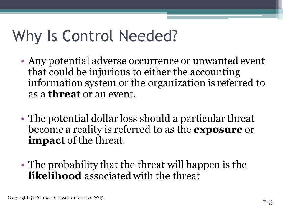 Why Is Control Needed