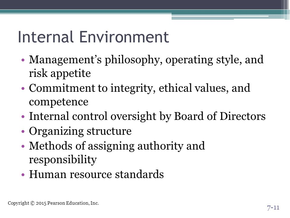 Internal Environment Management's philosophy, operating style, and risk appetite. Commitment to integrity, ethical values, and competence.