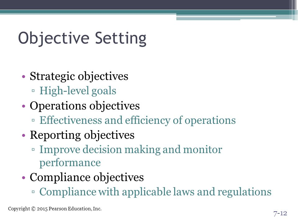 Objective Setting Strategic objectives Operations objectives