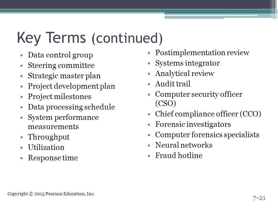 Key Terms (continued) Postimplementation review Data control group