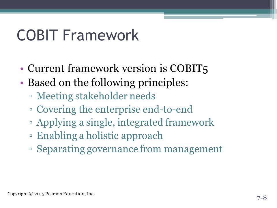 COBIT Framework Current framework version is COBIT5