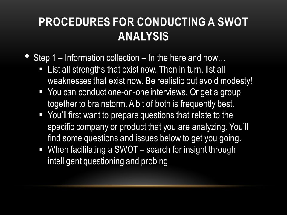 PROCEDURES FOR CONDUCTING A SWOT ANALYSIS