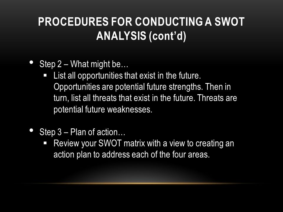 PROCEDURES FOR CONDUCTING A SWOT ANALYSIS (cont'd)