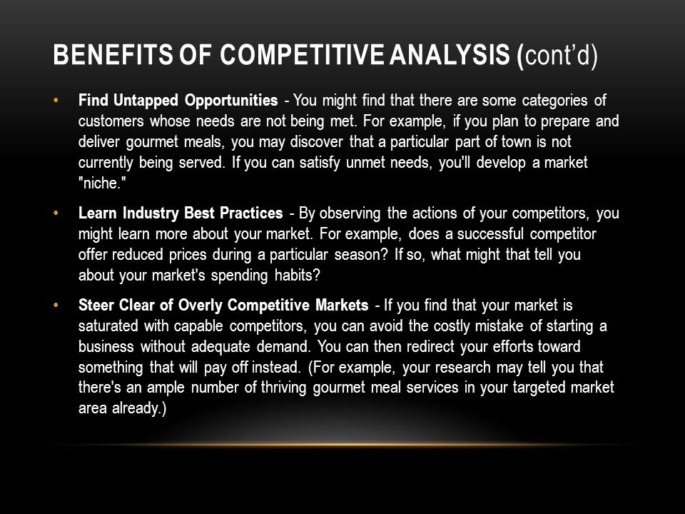 Benefits of Competitive Analysis (cont'd)