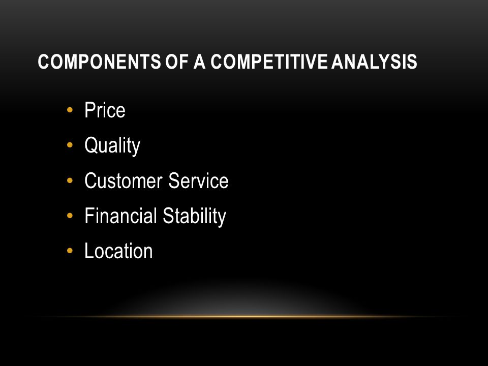 Components of a Competitive Analysis