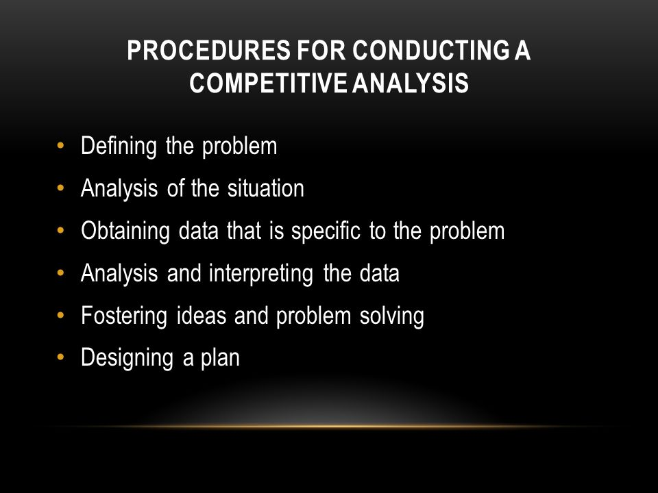 Procedures for Conducting a Competitive Analysis