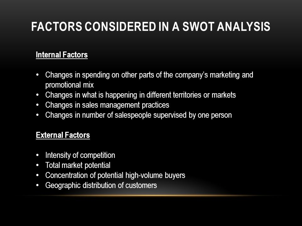 FACTORS CONSIDERED IN A SWOT ANALYSIS