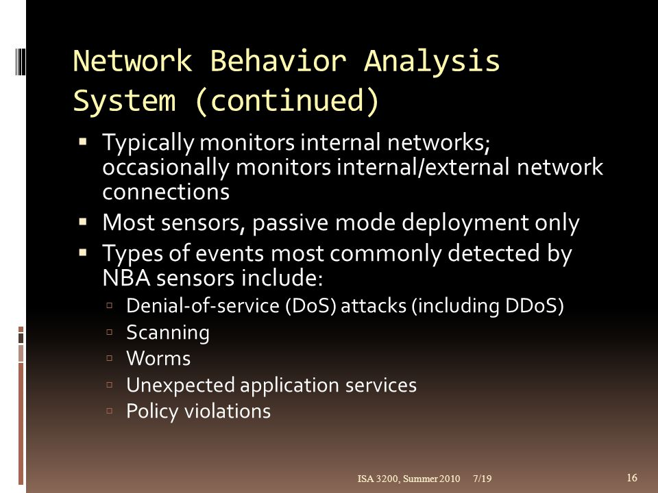 Network Behavior Analysis System (continued)