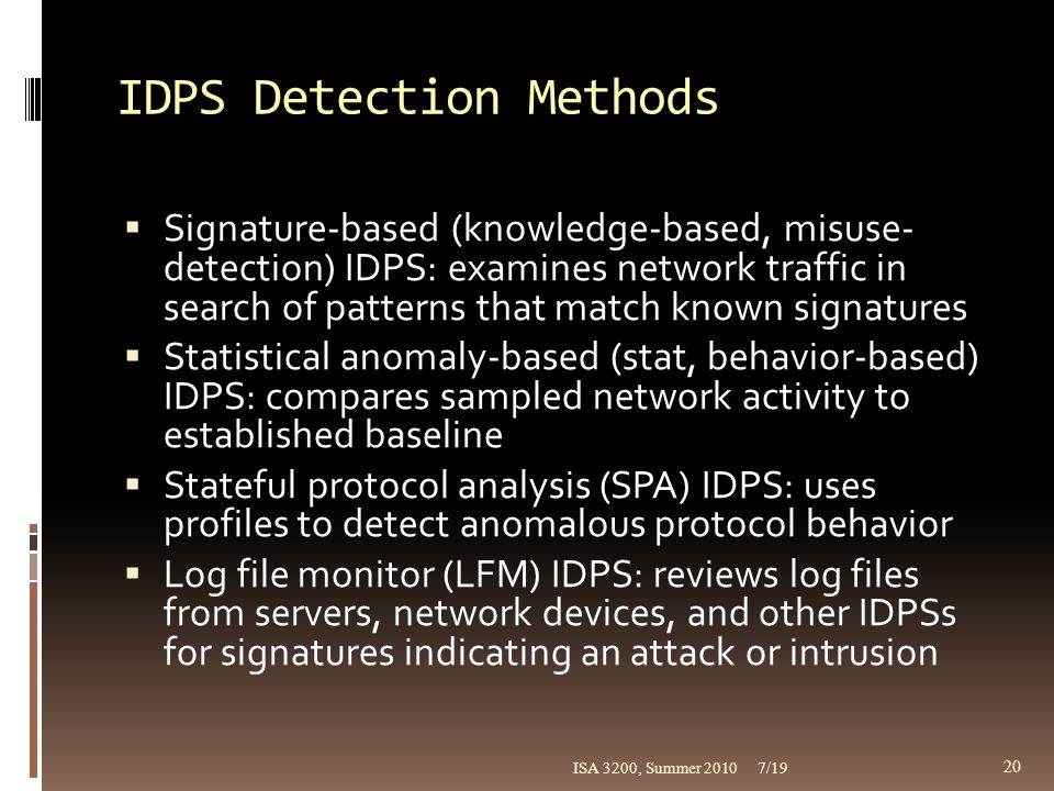 IDPS Detection Methods