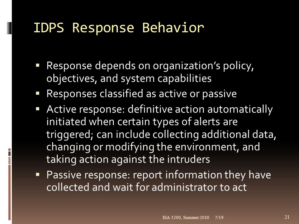 IDPS Response Behavior