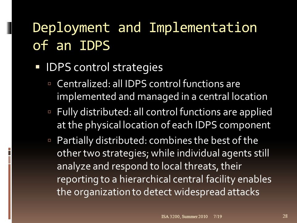 Deployment and Implementation of an IDPS