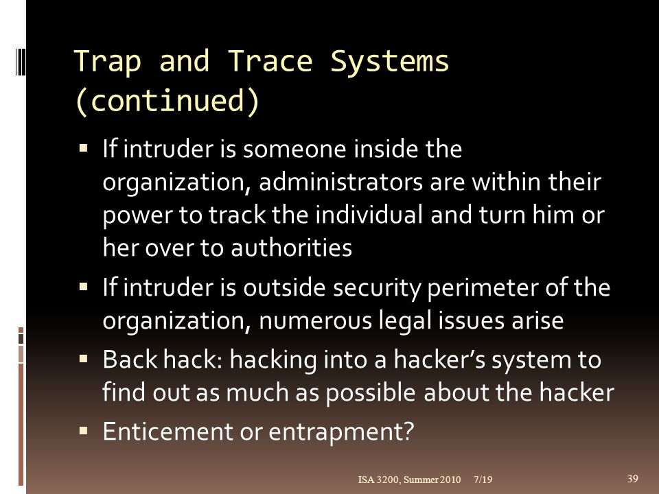 Trap and Trace Systems (continued)