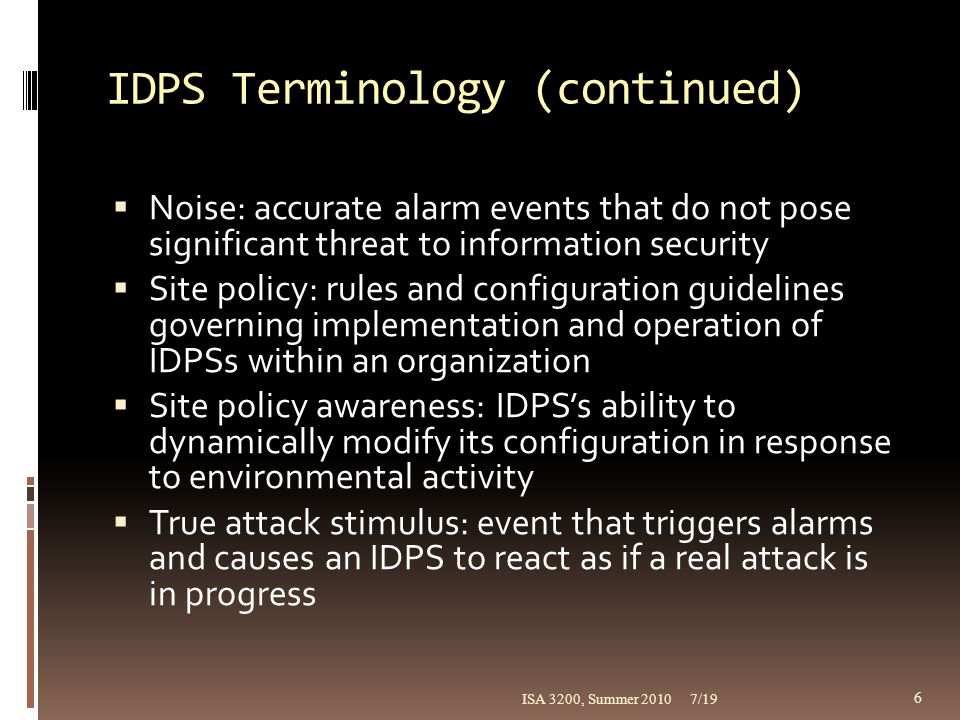 IDPS Terminology (continued)