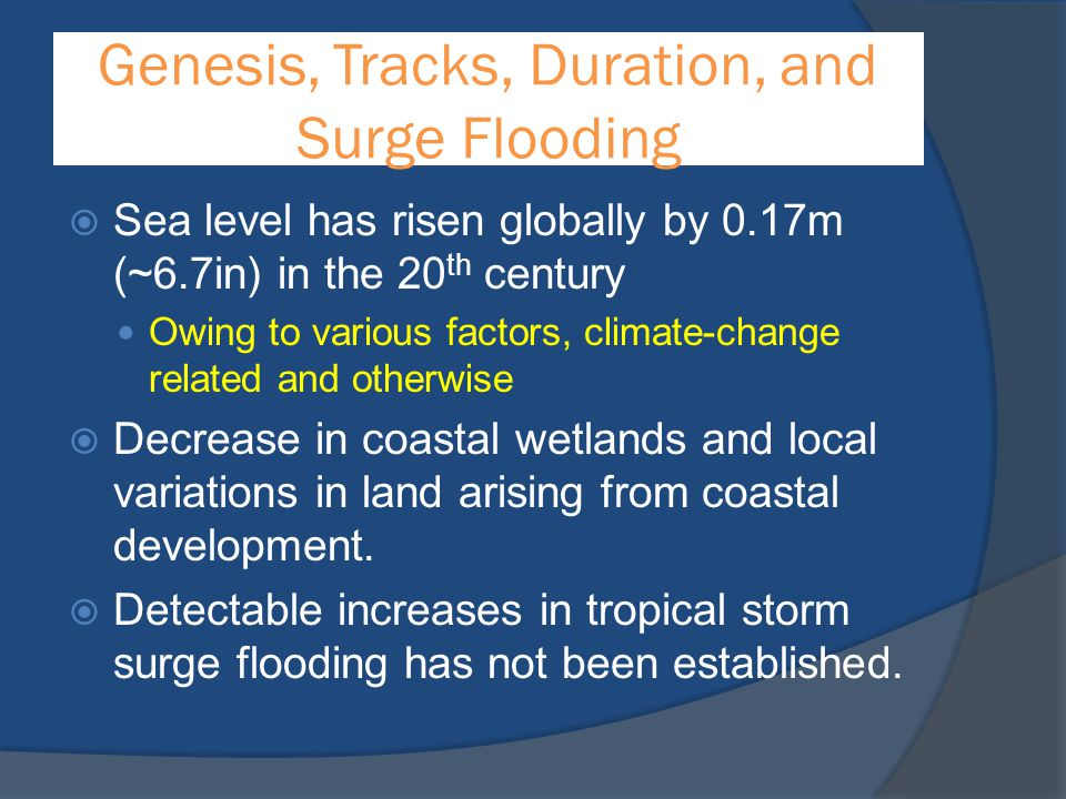 Genesis, Tracks, Duration, and Surge Flooding