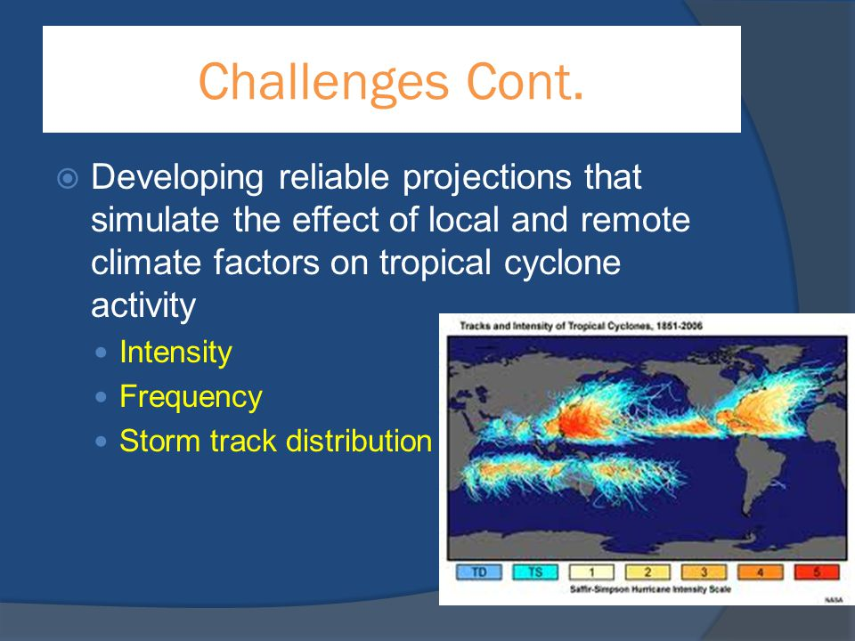 Challenges Cont. Developing reliable projections that simulate the effect of local and remote climate factors on tropical cyclone activity.