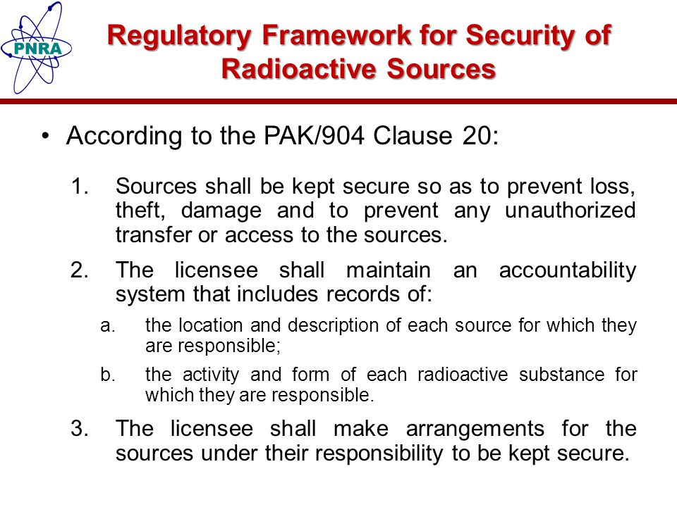 Regulatory Framework for Security of Radioactive Sources