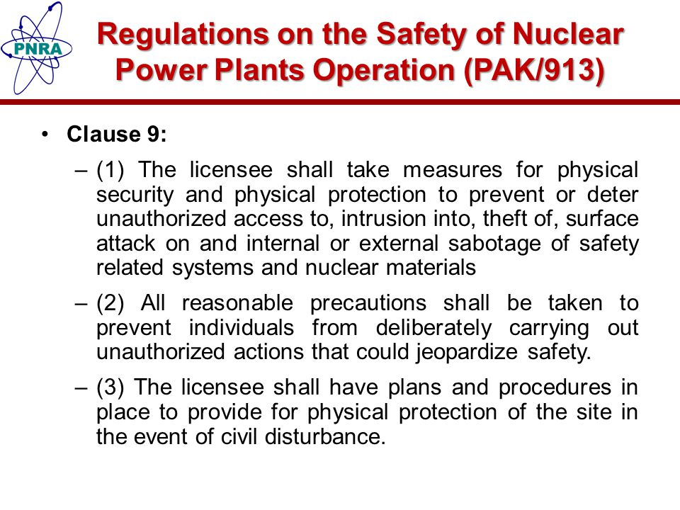 Regulations on the Safety of Nuclear Power Plants Operation (PAK/913)