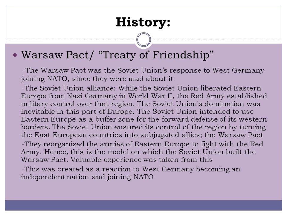 History: Warsaw Pact/ Treaty of Friendship